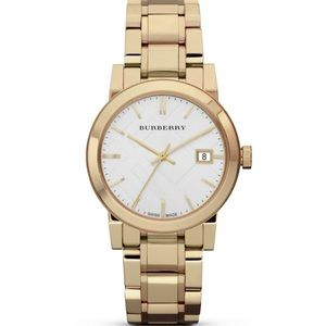 NWT Burberry Gold Stainless Steel Watch, 34mm
